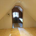 Sauna Dachschräge Dachbodensauna mit seitlicher Verkleidung mit Glastüre in Leck (2)