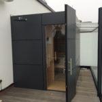 Sauna Dachterrasse anthrazit Außensauna Schweißbahnen Flachdach Bremen (18)