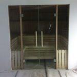 Sauna Glastüren Holzgriff Rollenschnapper Edelstahl Glastürbänder Sylt (1)