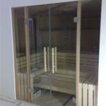 Sauna Glastüren Holzgriff Rollenschnapper Edelstahl Glastürbänder Sylt (2)