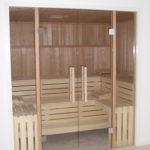 Sauna Glastüren Holzgriff Rollenschnapper Edelstahl Glastürbänder Sylt (3)