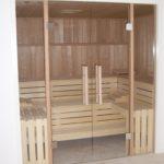 Sauna Glastüren Holzgriff Rollenschnapper Edelstahl Glastürbänder Sylt (6)