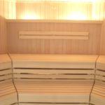 Sauna Sonderanfertigung Voll-Glasfront Erker Schrägform(1)
