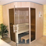 Sauna fünfeck Glasfront getönt integrierte Hifi über Saunasteuerung (2)
