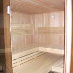 Sauna fünfeck Glasfront getönt integrierte Hifi über Saunasteuerung (3)